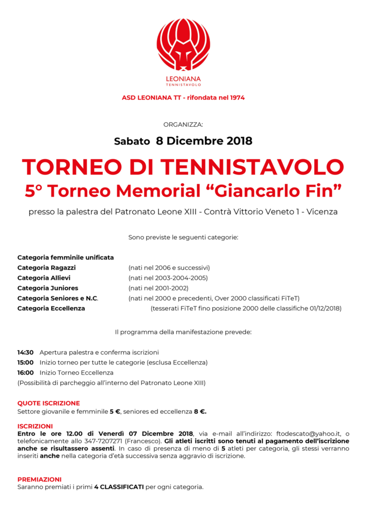 Torneo di tennistavolo 8 Dicembre 2018 5° Memorial Giancarlo Fin a Vicenza